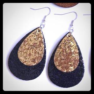 Black and gold tear drop earrings
